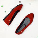 Женские красные замшевые туфли-балетки с заостренным носком., фото 3