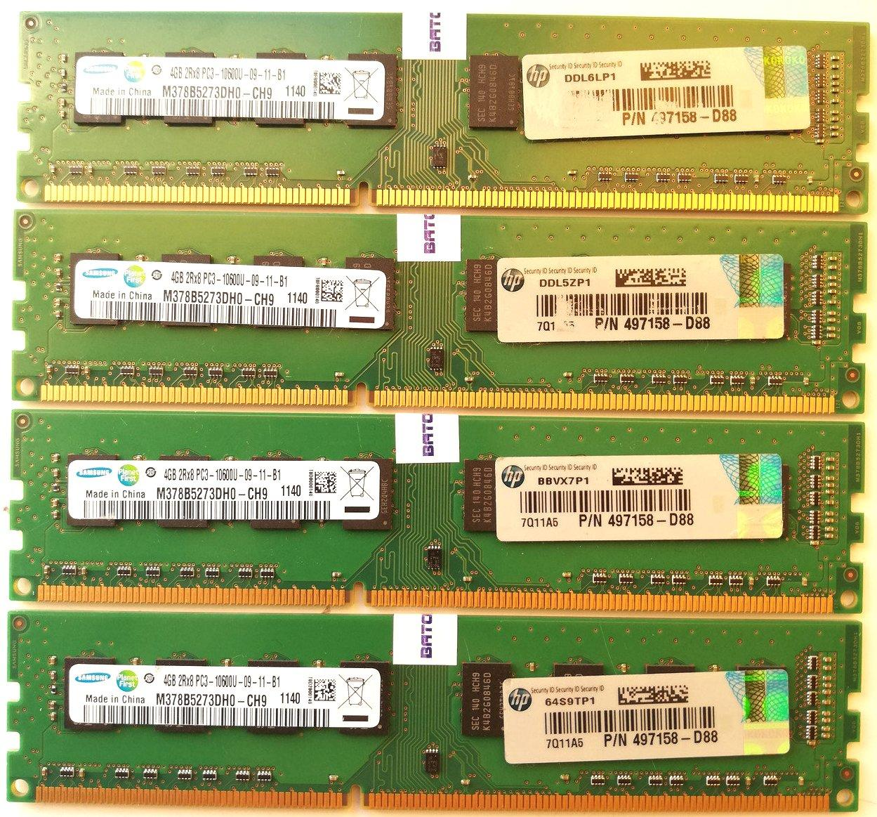 Комплект оперативной памяти Samsung DDR3 16Gb (4*4Gb) 1333MHz PC3 10600U 2R8 CL9 (M378B5273DH0-CH9) Б/У