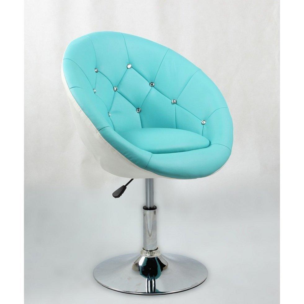 Парикмахерское кресло Votana HC8516 стразы, бирюзовый с белым