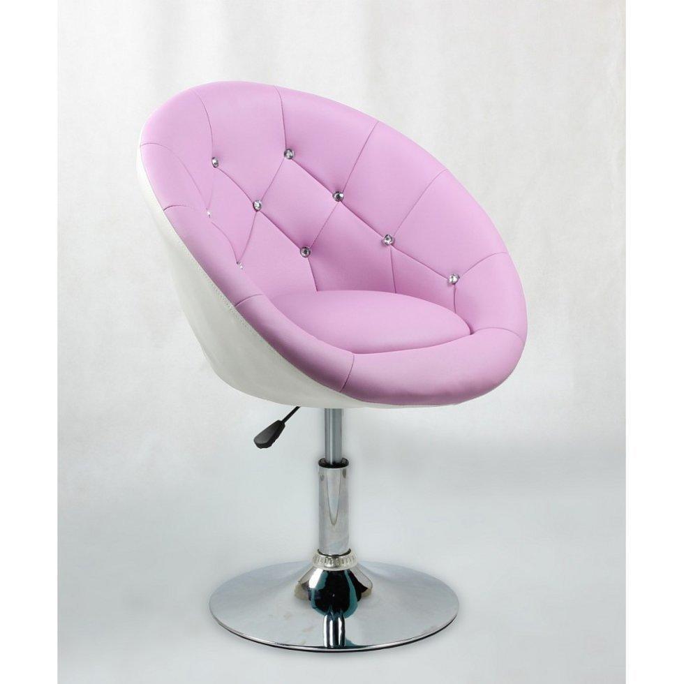 Парикмахерское кресло Votana HC8516 стразы, лавандовый с белым