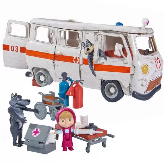 Игровой набор Simba фигурка Маши и машина скорой помощи с фигурками волков из м/ф Маша и Медведь (109309863)