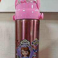 """Детский термос """" Принцесса Софи """" 500 мл с трубочкой и ремешком"""