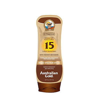 Солнцезащитный лосьон SPF15 с эффектом бронзатора Australian Gold Sunscreen Lotion with Kona Coffee 237 мл