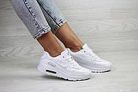 Кроссовки Nike Air Max 90 женские, белые, в стиле Найк Аир Макс 90. Натуральная кожа, код SD-8107