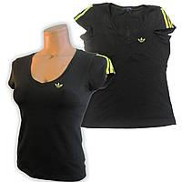 Футболка женская спортивная трикотаж. Черная \ желтый. Мод. 820., фото 1
