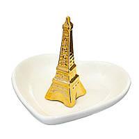 """Керамическое блюдце-подставка для украшений """"Эйфелева башня"""" 11х9 см"""