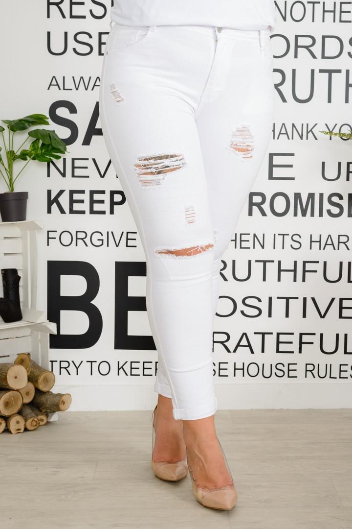 Брюки женские стрейчевые джинса рваные (К28368)