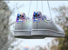 Женские кроссовки Adidas Stan Smith White Metallic Silver-Sld AQ6272, Адидас Стен Смит, фото 3