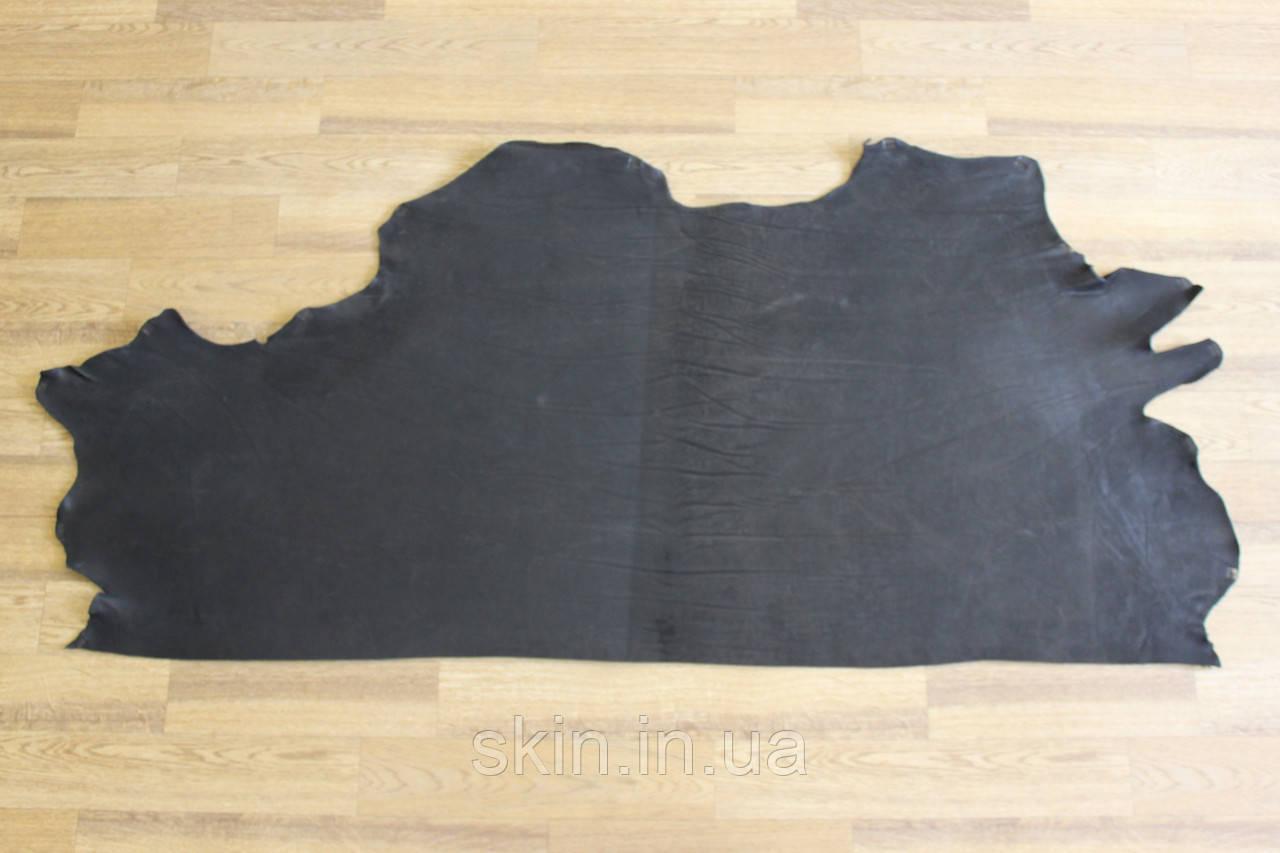 Кожа натуральная ременная черная, толщина 3.0 мм, арт. СК 1609 ворот