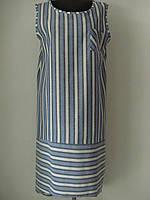 Сарафан из льна в полоску прямого кроя с нагрудным карманом большого размера, р.54 код 2002М