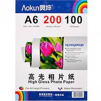 Фотобумага А6 пл. 200 г/м², 100 листов, глянцевая