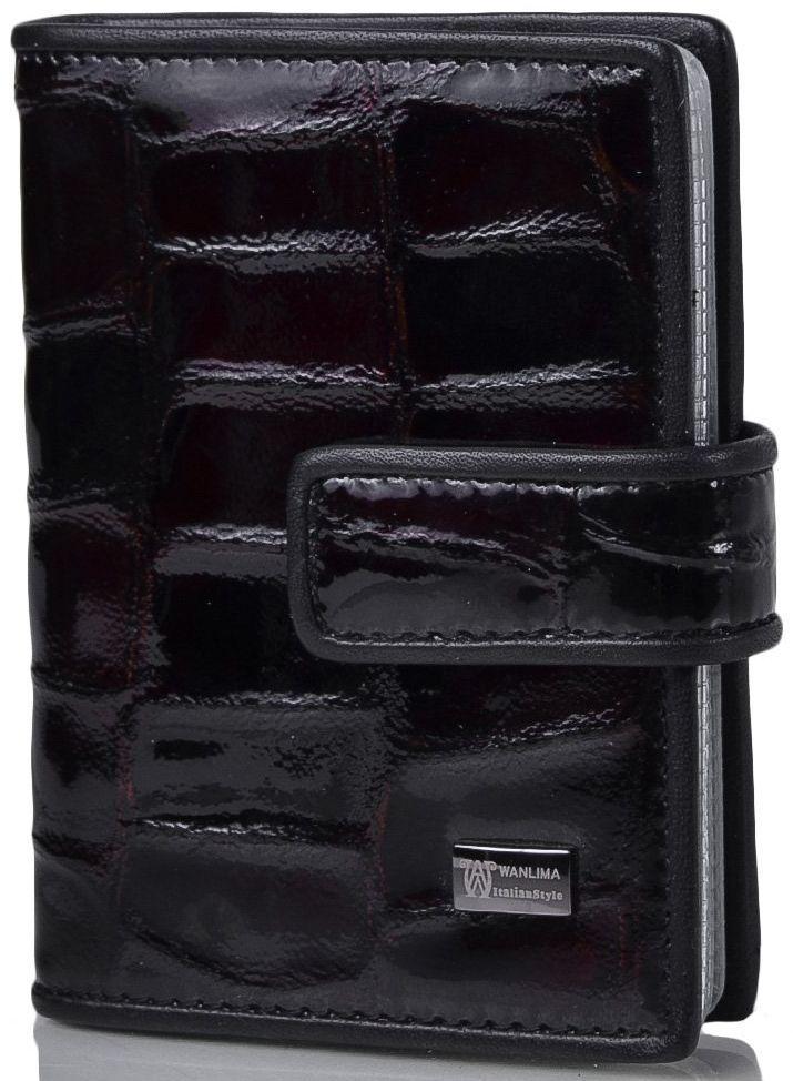 Визитница унисекс кожаная WANLIMA (ВАНЛИМА) W50080150457 темно-коричневая