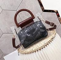 Прозрачная силиконовая сумка с деревянными ручками и модной плетёной косметичкой, фото 1