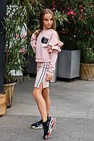 Детский спортивный костюм на девочку юбка и кофта свитер с карманом в пайетках розовый 134 140 146 152