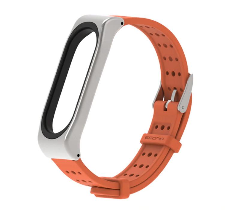 Силиконовый ремешок с перфорацией Primo Mijobs Classic для фитнес браслета Xiaomi Mi Band 3 - Dark Orang