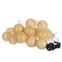 LED  тайская гирлянда из шаров 20 шт. (3,5 м) питание от сети. ЗОЛОТО, фото 1