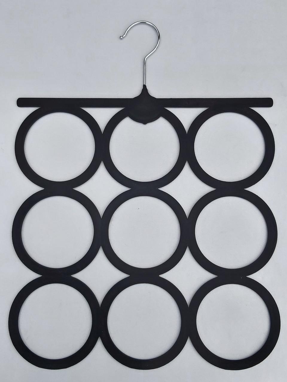 Плечики вешалки тремпеля флокированные черного цвета для аксессуаров