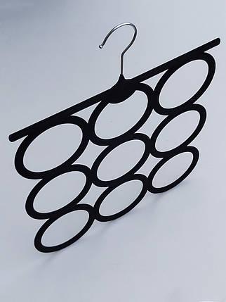 Плечики вешалки тремпеля флокированные черного цвета для аксессуаров, фото 2