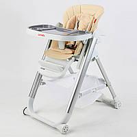 Стульчик для кормления Carrello Concord бежевый колеса наклон спинки для малышей от рождения и до 3-х лет