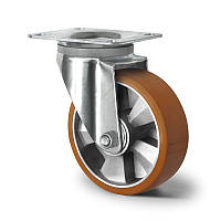 Поворотне колесо діаметр 125 мм алюміній/поліуретан кульковий підшипник навантаження 300 кг