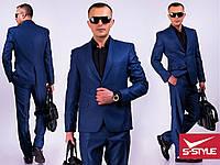 Мужской классический костюм синего цвета с 44 по 56 размер
