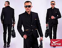 Стильный молодёжный классический костюм чёрного цвета с 44 по 56 размер