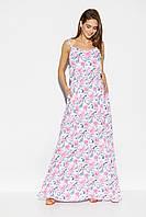 Женское белое длинное летнее платье с цветочным принтом, фото 1