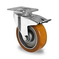 Поворотное колесо с тормозом диаметр 100 мм алюминий/полиуретан шариковый подшипник нагрузка 250 кг