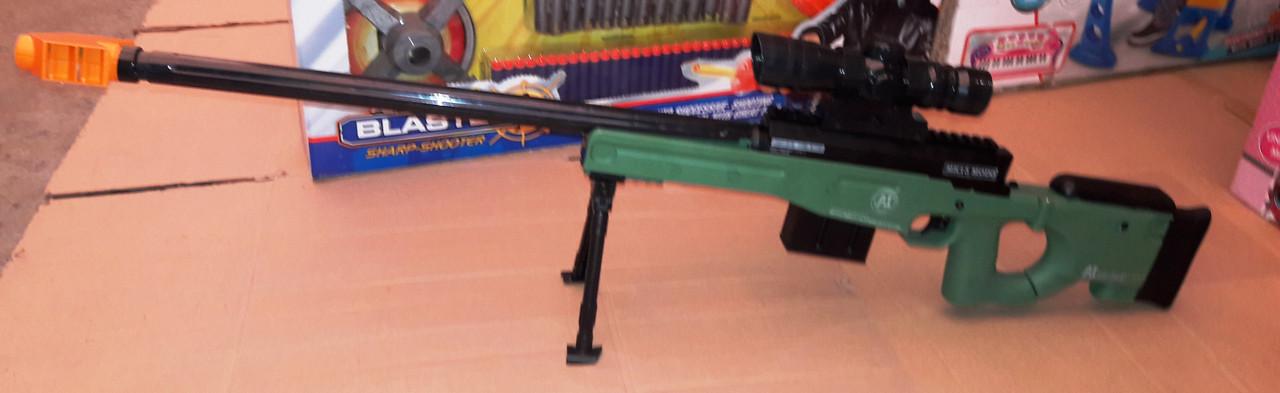 Детская снайперская винтовка 608 A аккумулятор 97см, очки, гелевые пули