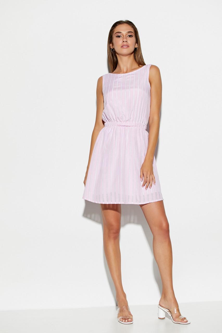 Короткое розовое летнее платье из хлопка без рукавов, фото 1