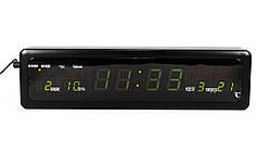 Настольные LED часы CX-808 с зеленой подсветкой, черные