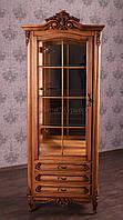 """Шкаф горка в гостиную """"Регина"""" из натурального дерева, классическая мебель в зал от фабрики производителя"""
