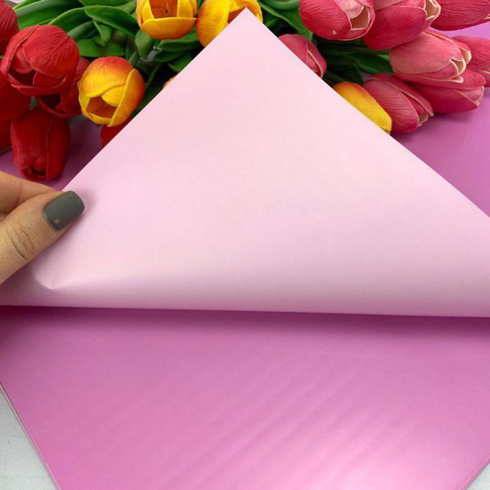Калька для упаковки цветов двусторонняя непрозрачная Сиренево - Пудровая 60*60 см, 20 листов