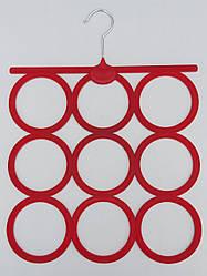 Плечики вешалки флокированные (бархатные) для аксессуаров красного цвета