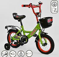 """Детский велосипед Corso 12"""" зеленый, оборудован страховочными колесами"""