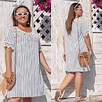 Летнее легкое женское  платье в полоску с кружевом больших размеров до 58-го