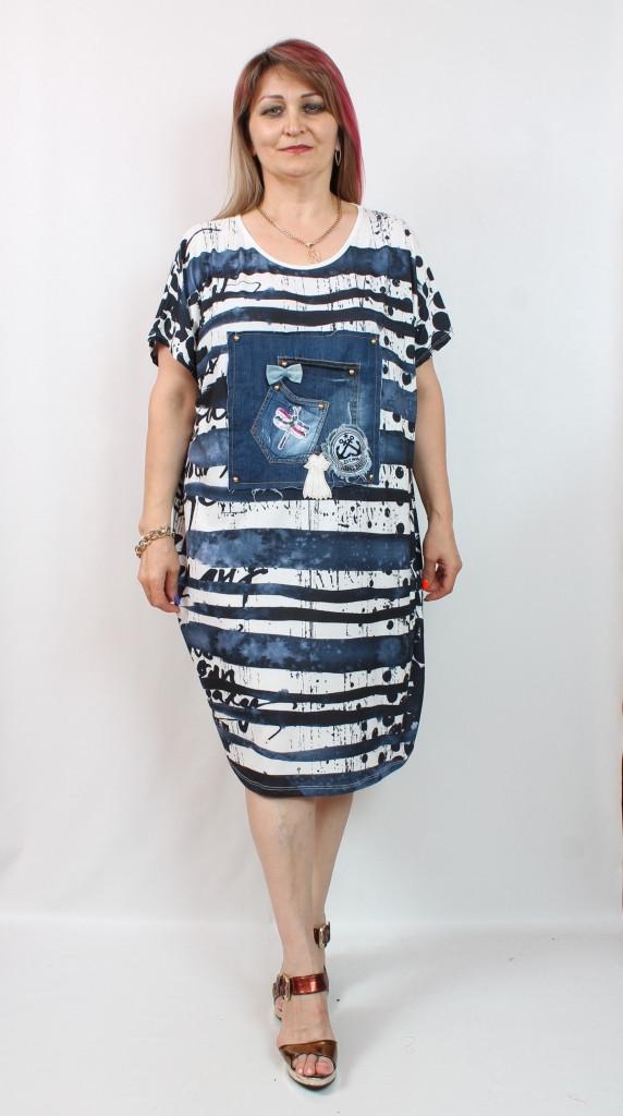 Турецкое летнее платье свободного кроя, 56-64