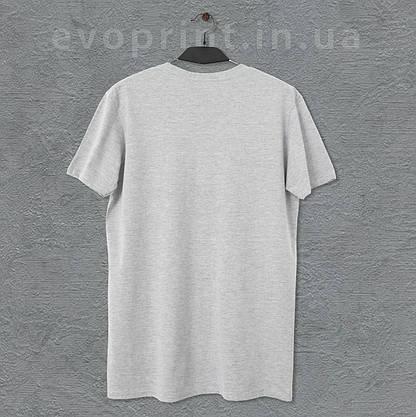 Мужская футболка серый меланж однотонная, фото 3