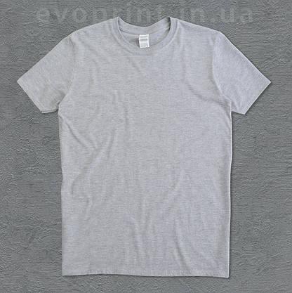Мужская футболка серый меланж однотонная, фото 2