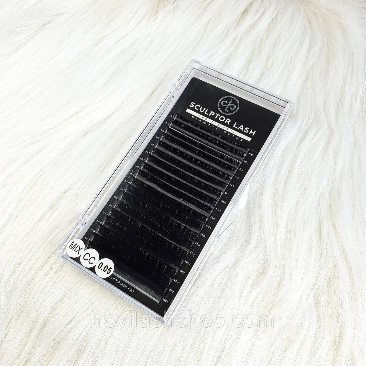 Ресницы mix CC 0.05 (7-13) Sculptor Lash Diamond Black