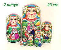 Украинские матрешки 23 см 7 шт большие деревянные (13)