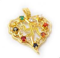 Кулон индийский под золото в форме сердца Навратна