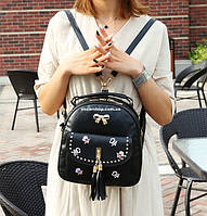 Модный женский рюкзак с украшением. Кожаная сумочка для девушек. Детский портфель. С26