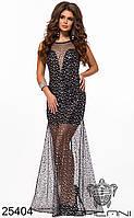 Платье вечернее серебристое с сеткой в пол (размер L)