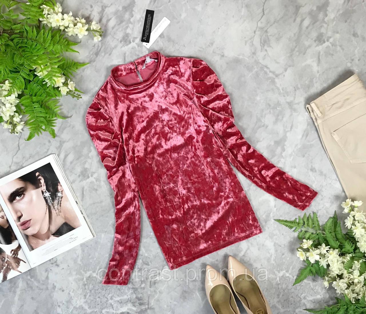 Трендовая блуза из велюра с оригинальными рукавами  BL1928039