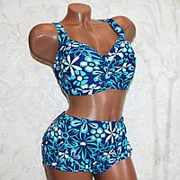 Большой 60 размер (7XL). Яркий женский купальник, синий с голубыми цветами, для полных женщин