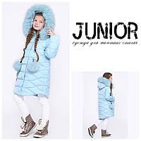 Зимнее длинное пальто куртка с мехом  для девочки DT-8294-7, фото 1
