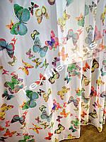 Тюль бабочки зеленые шифон Люкс