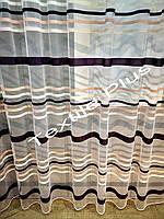 Тюль фатин с фиолетовой полосой