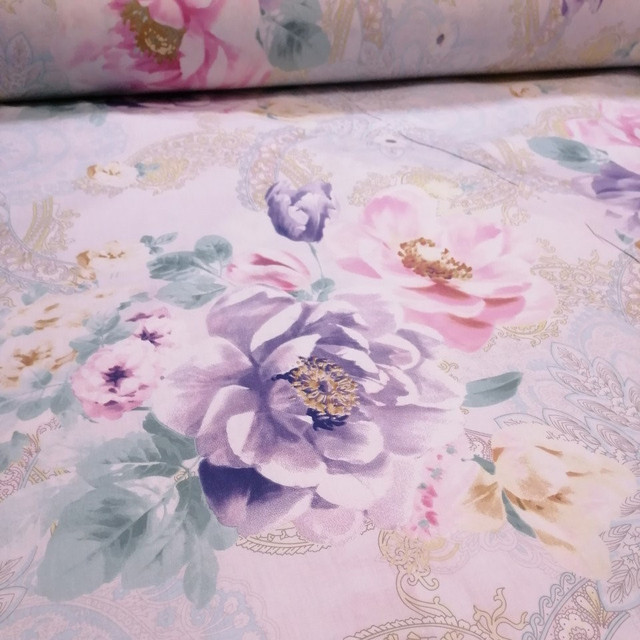 ткань сатин цветы большие китай 220